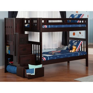 Cascade Staircase Bunk Bed Twin over Twin in Espresso