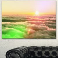 Sunset on Hills Above Clouds - Landscape Art Print Canvas - YELLOW