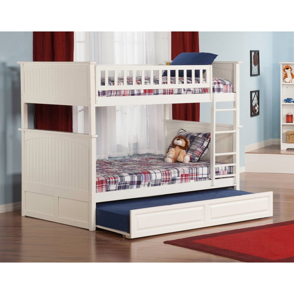 Nantucket Bunk Bed Full over Full with Twin Size Raised Panel Trundle Bed in White