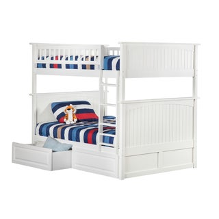 Nantucket Bunk Bed Full over Full with 2 Raised Panel Bed Drawers in White
