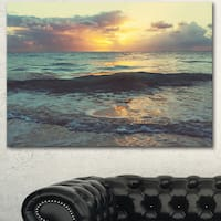 Colorful Bluish Waters At Sunset - Seashore Canvas Wall Artwork
