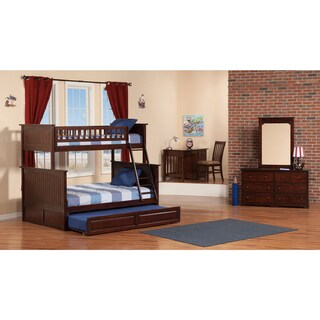 Nantucket Bunk Bed Twin over Full with Twin Size Raised Panel Trundle Bed in Walnut