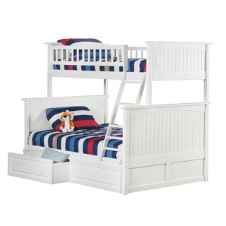 Nantucket Bunk Bed Twin over Full with 2 Raised Panel Bed Drawers in White