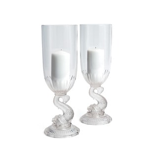 Hip Vintage Fishy Clear Crystal Hurricane Candle Holders