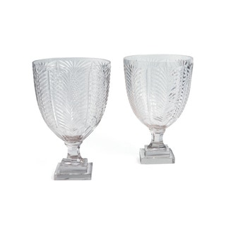Hip Vintage Winged Hurricane Clear Glass Candle Holders