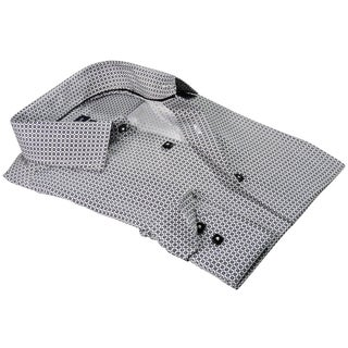 Rosso Milano Italy Men's European White Cotton and Polyester Printed Polka-dot Modern-fit Dress Shirt