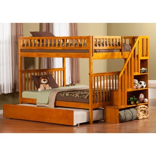 Atlantic Furniture Woodland Caramel Latte Wood Full-over-full Staircase Bunk Bed with Urban Trundle Bed