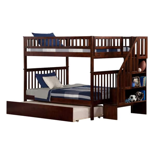 Woodland Staircase Bunk Bed Full Over Full With Twin Size Urban Trundle Bed In Walnut Overstock 13048894