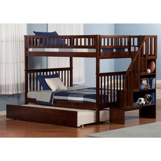 Woodland Staircase Bunk Bed Full over Full with Twin Size Urban Trundle Bed in Walnut