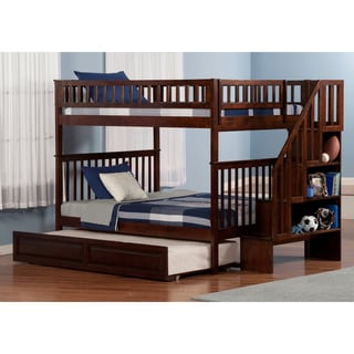 Woodland Staircase Bunk Bed Full over Full with Twin Size Raised Panel Trundle Bed in Walnut