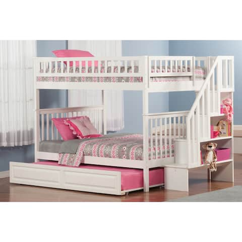 Woodland Staircase Bunk Bed Full over Full with Twin Size Raised Panel Trundle Bed in White