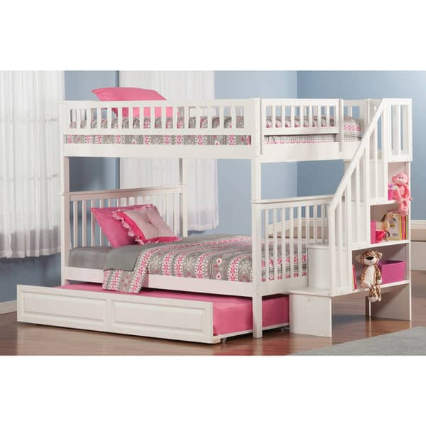 Woodland Staircase Bunk Bed Full Over Full With Twin Size Raised Panel Trundle Bed In White Overstock 13048906