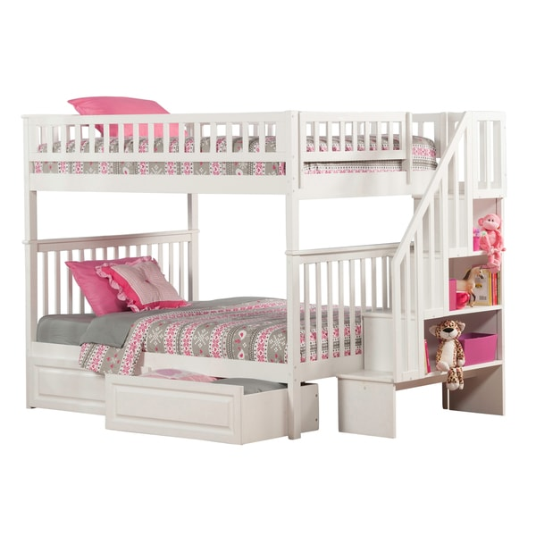 Shop Woodland Staircase Bunk Bed Full Over Full With 2