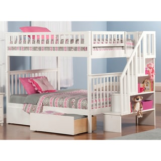 Woodland White Full-over-full Staircase Bunk Bed with Bed Drawers