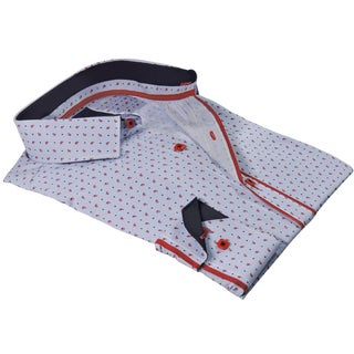Rosso Milano Italy Men's European Blue/Grey Cotton and Polyester Modern-fit Paisley Dress Shirt