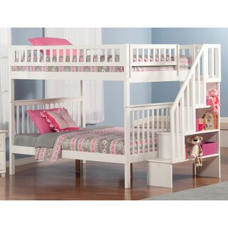 Woodland Full over Full Staircase Bunk Bed in White