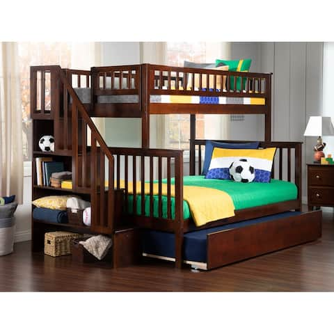 Woodland Staircase Bunk Bed Twin over Full with Twin Size Urban Trundle Bed in Walnut