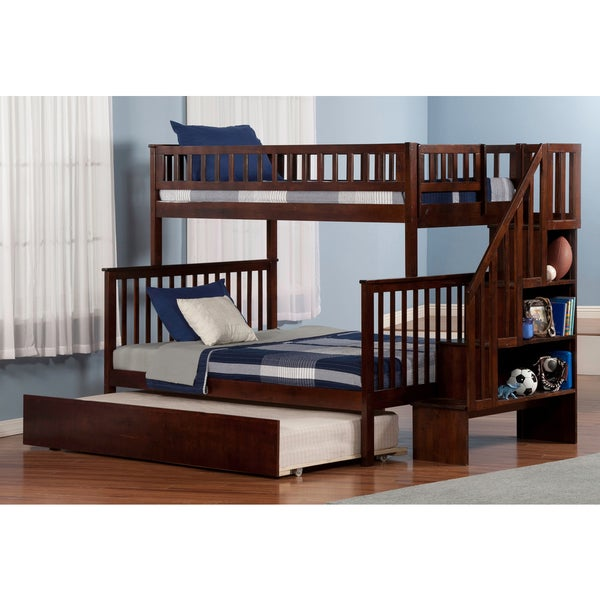 Shop woodland staircase bunk bed twin over full with urban for Urban home beds