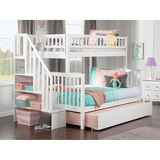 Woodland Twin over Full Staircase Bunk Bed with Urban Trundle Bed in White