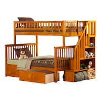 Woodland Staircase Bunk Bed Twin over Full with Urban Bed Drawers in Caramel Latte