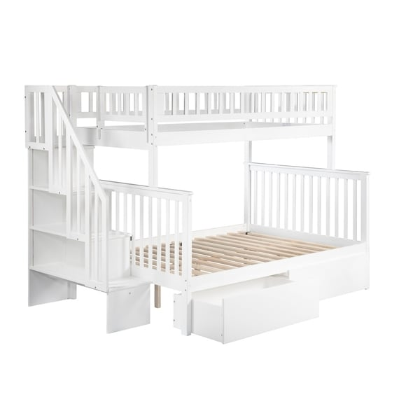 Bed Over Stair Box Google Search: Shop Woodland Staircase Bunk Bed Twin Over Full With 2