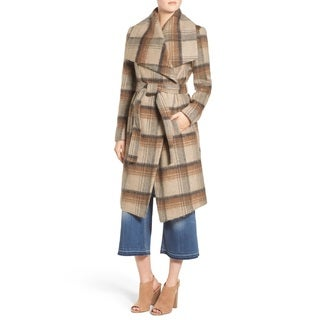 BCBGeneration Women's Camel Plaid Wrap Coat