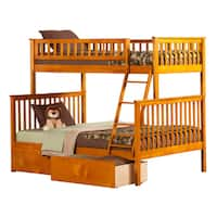 Woodland Twin over Full Bunk Bed with Urban Bed Drawers in Caramel Latte
