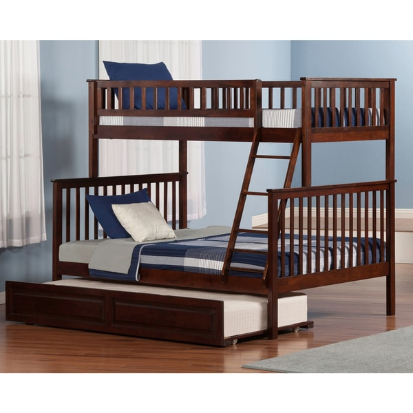 Shop Woodland Twin Over Full Walnut Bunk Bed With Raised