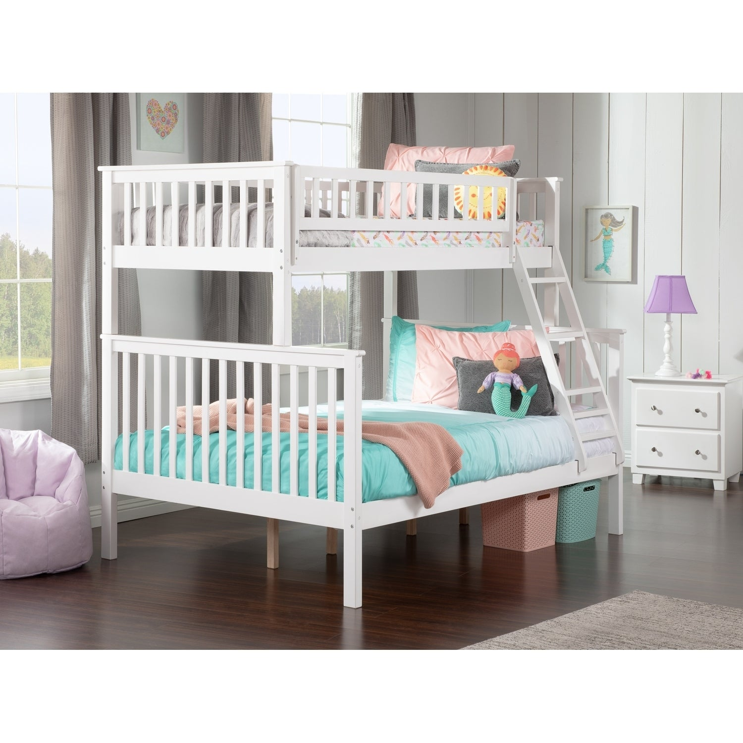 Atlantic Furniture Woodland White Twin-over-Full Bunk Bed...