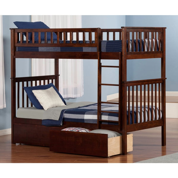 Woodland Bunk Bed Twin over Twin with 2 Urban Bed Drawers in Walnut