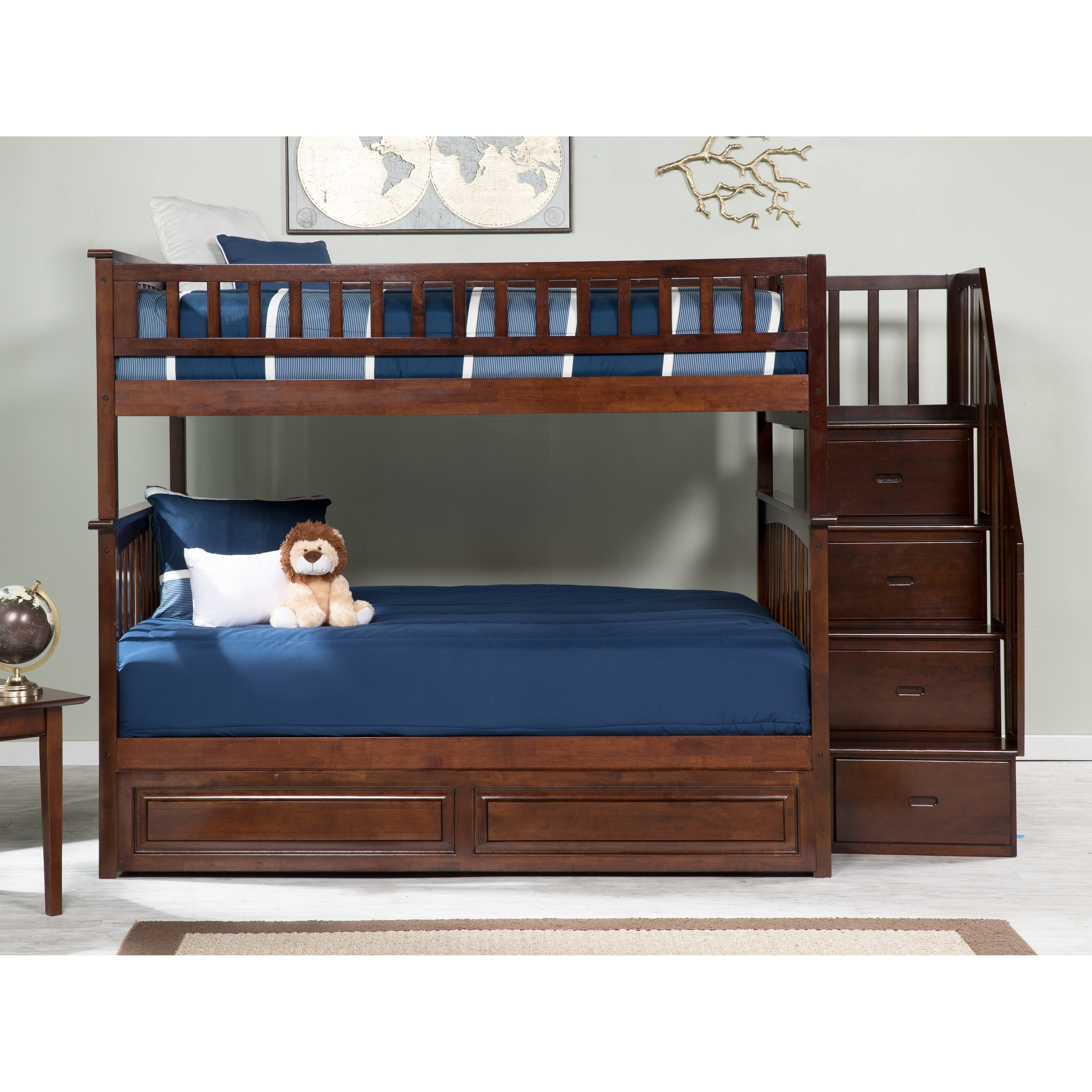 Columbia Staircase Bunk Bed Full Over Full With Twin Sized Raised Panel Trundle Bed In Walnut Overstock 13049017
