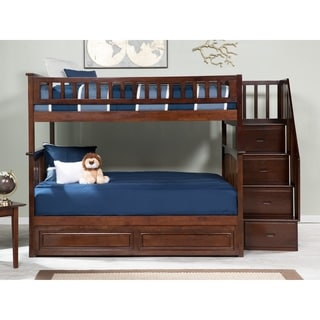 Columbia Staircase Bunk Bed Full over Full with Twin Sized Raised Panel Trundle Bed in Walnut