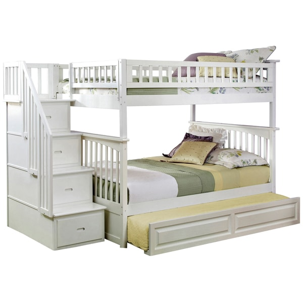 Columbia White Full Over Full Staircase Bunk Bed And