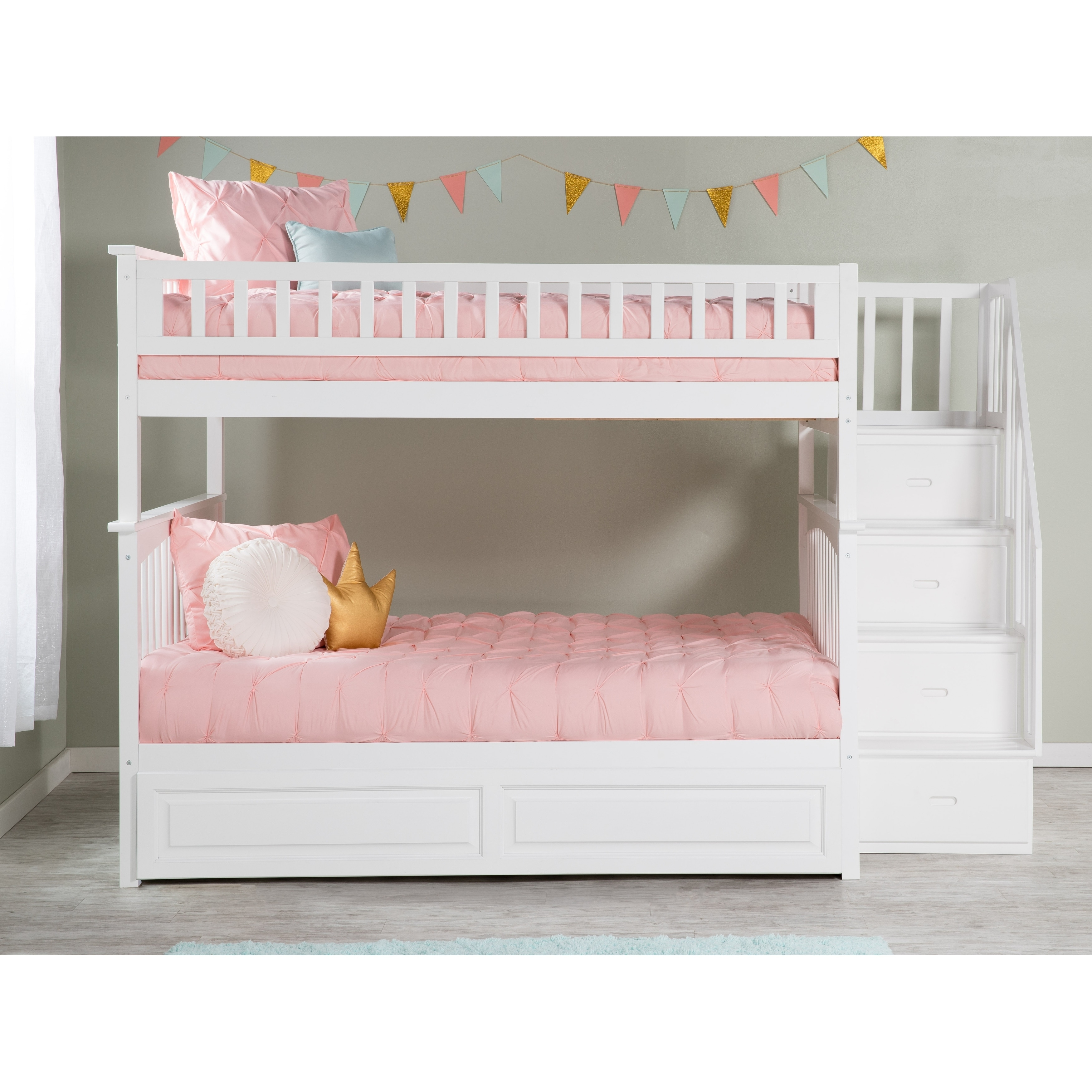 Columbia Staircase Bunk Bed Full Over Full With Twin Size Raised Panel Trundle Bed In White Overstock 13049018