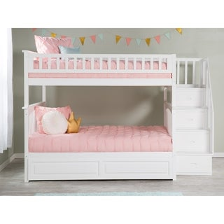 Columbia Staircase Bunk Bed Full over Full with Twin Size Raised Panel Trundle Bed in White