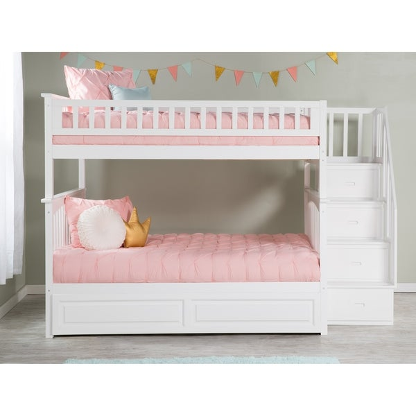 Shop Columbia White Full Over Full Staircase Bunk Bed And