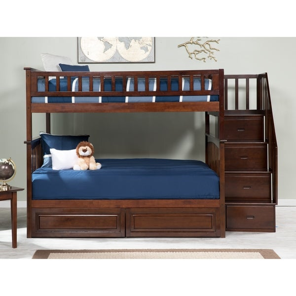 Columbia Staircase Bunk Bed Full over Full with 2 Raised Panel Bed Drawers in Walnut