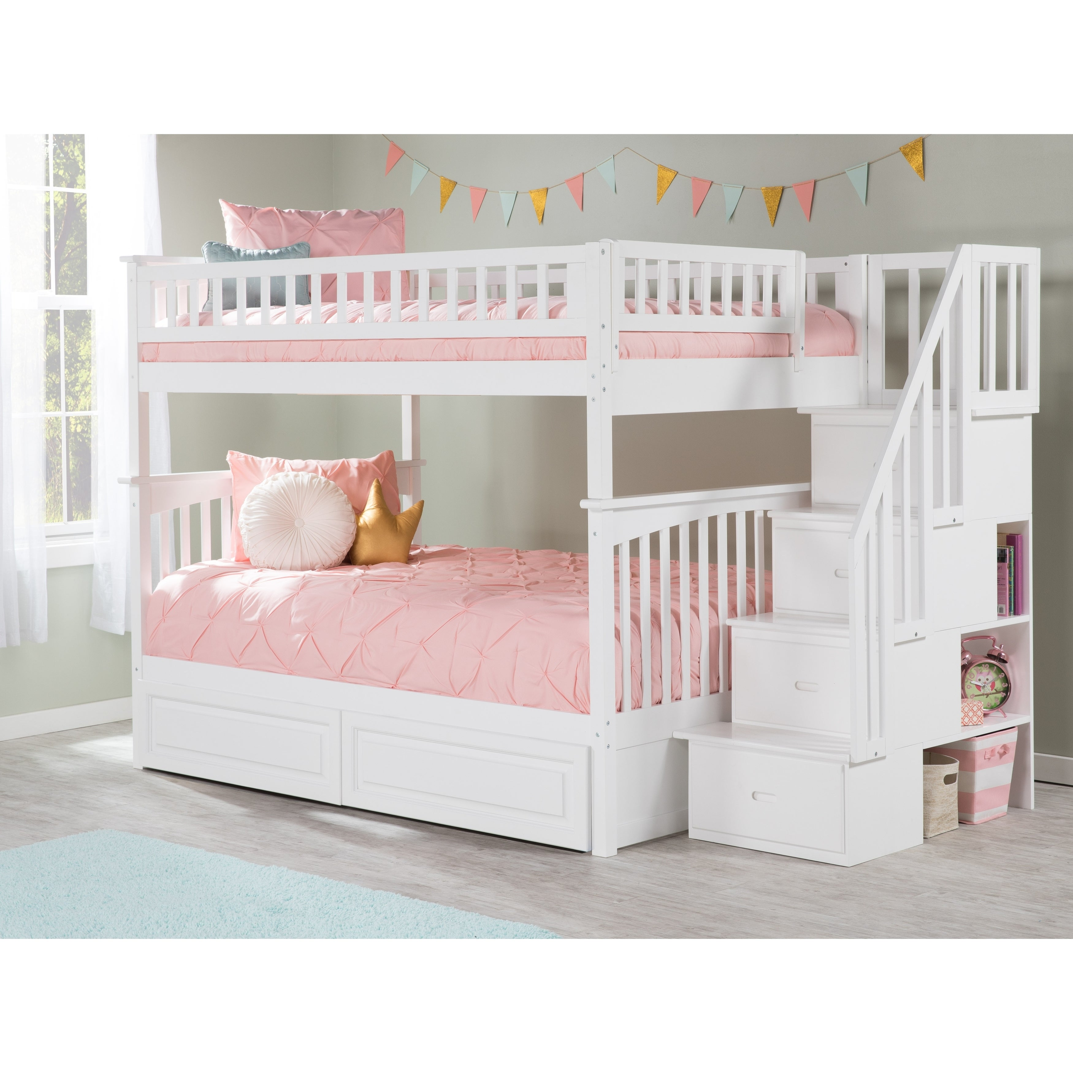 Picture of: Columbia White Full Over Full Staircase Bunk Bed W 2 Bed Drawers On Sale Overstock 13049022