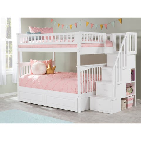 Columbia White Full-over-Full Staircase Bunk Bed w/ 2 Bed Drawers