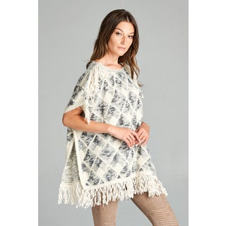 Spicy Mix Women's Amaris Beige Fringed Shoulder and Hem Poncho Sweater
