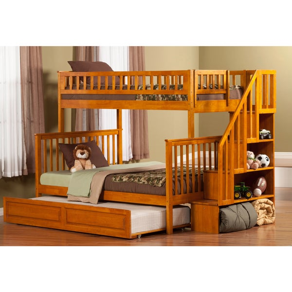 Shop Woodland Staircase Bunk Bed Twin Over Full With