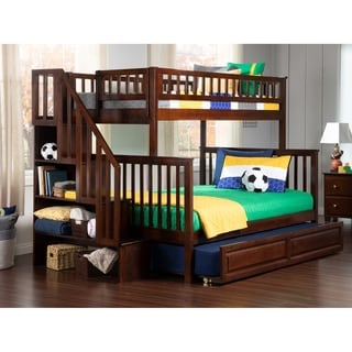 Woodland Staircase Bunk Bed Twin over Full with Twin Size Raised Panel Trundle Bed in Walnut