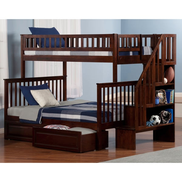 Shop Woodland Twin Over Full Staircase Bunk Bed With 2
