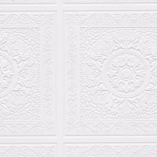 Manhattan Comfort Isaac White Textured Paintable Wallpaper Roll - 21 x 33'