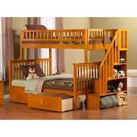 Woodland Staircase Bunk Bed Twin over Full with Flat Panel Bed Drawers in Caramel Latte