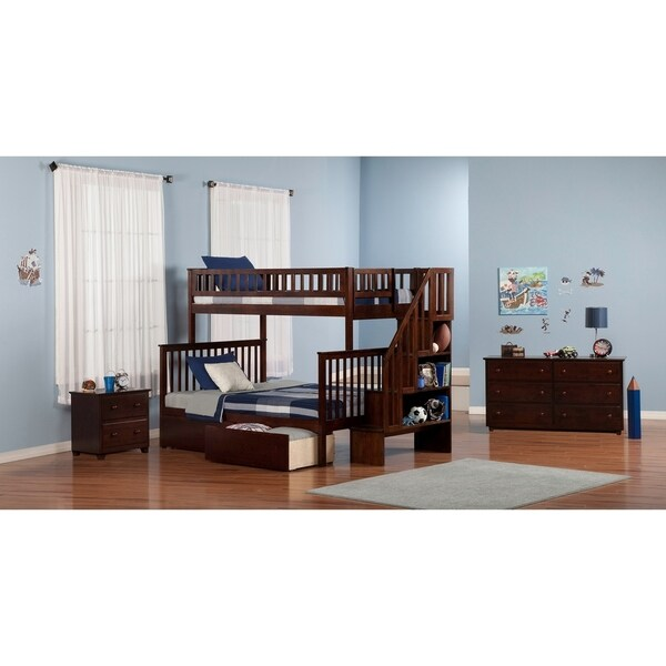 Shop Woodland Staircase Bunk Bed Twin Over Full With Flat