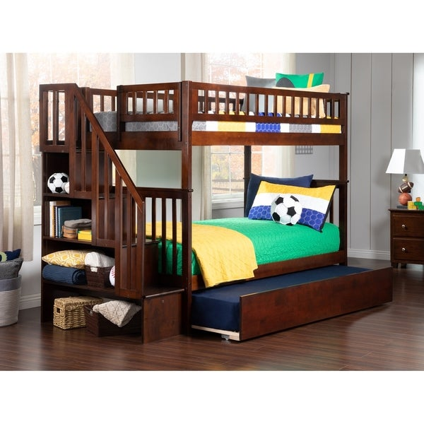 Bed Over Stair Box Google Search: Shop Woodland Staircase Bunk Bed Twin Over Twin With Urban