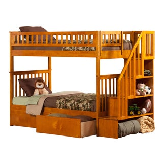Woodland Caramel Latte Twin-over-twin Staircase Bunk Bed with Bed Drawers
