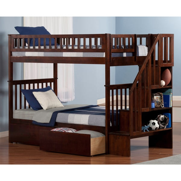 Woodland Walnut Twin-over-twin Staircase Bunk Bed with Bed Drawers
