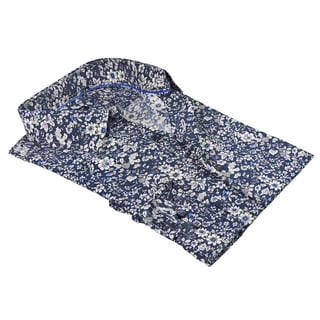 Rosso Milano Italy Men's Blue Floral Print Polyester Blend Dress Shirt